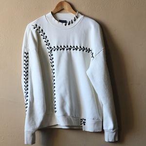 Top Shop White Lace-Up Stitch Sweatshirt